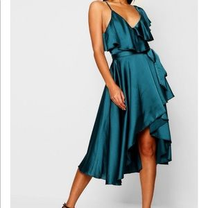 Satin Wrap Skater Dress Boohoo